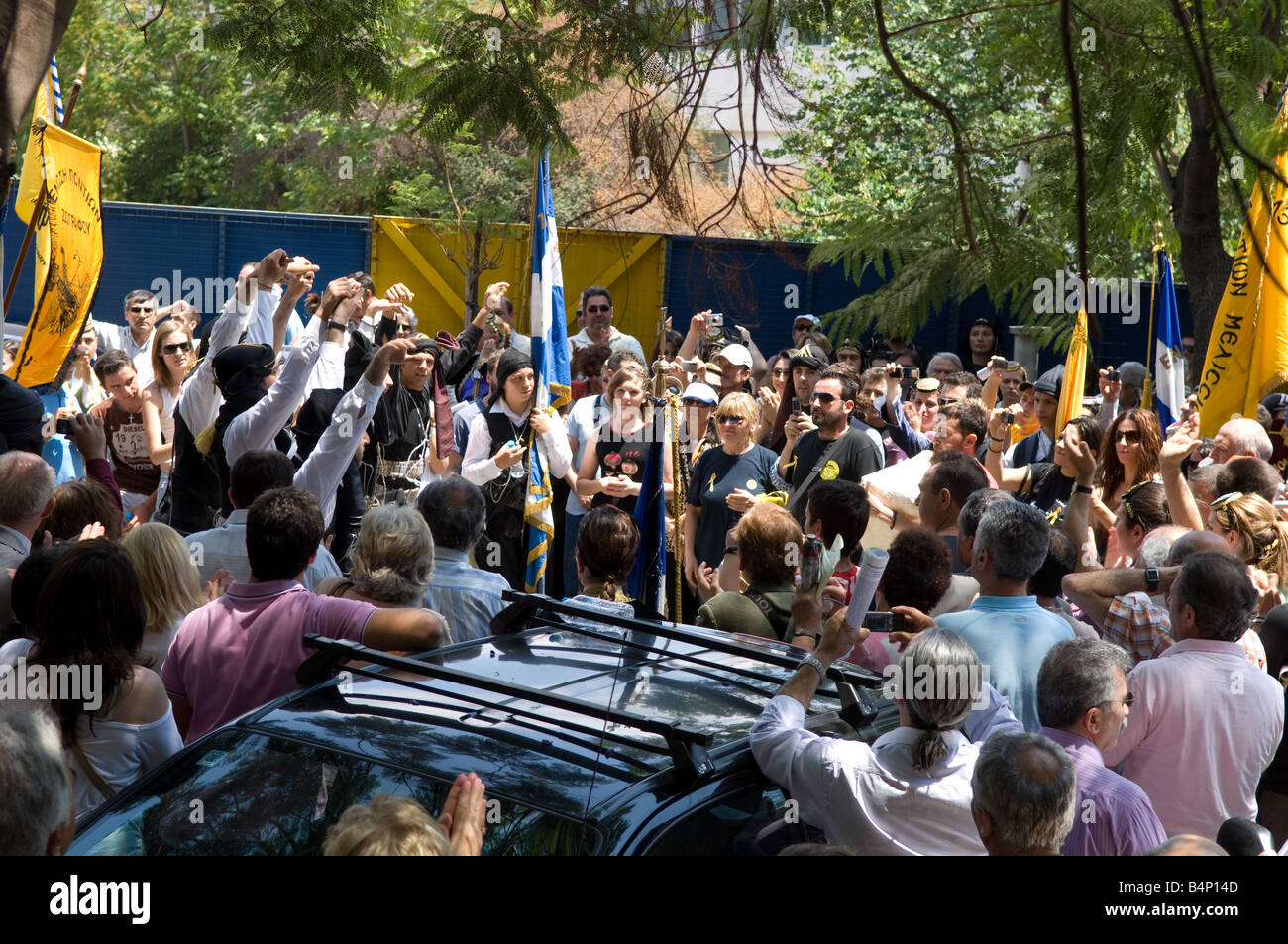 Protest at Turkish Ambassy in Athens against denial of Pondos and Asia Minor massacre - Stock Image
