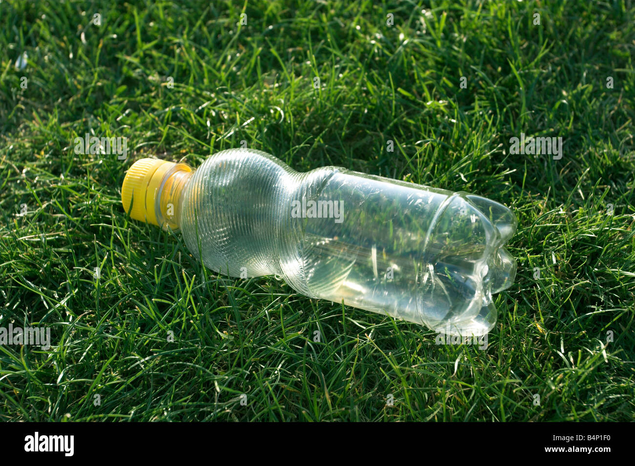 a plastic bottle dumped on the grass - Stock Image