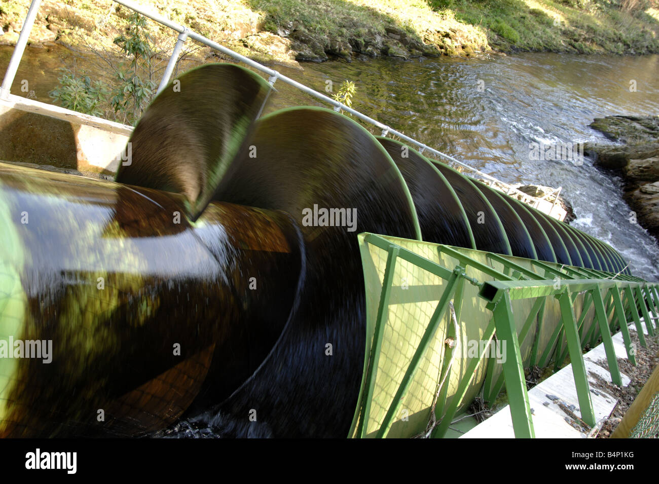 Archemedies Screw Hydro Power station at Dart Valley Country Park South Devon England - Stock Image