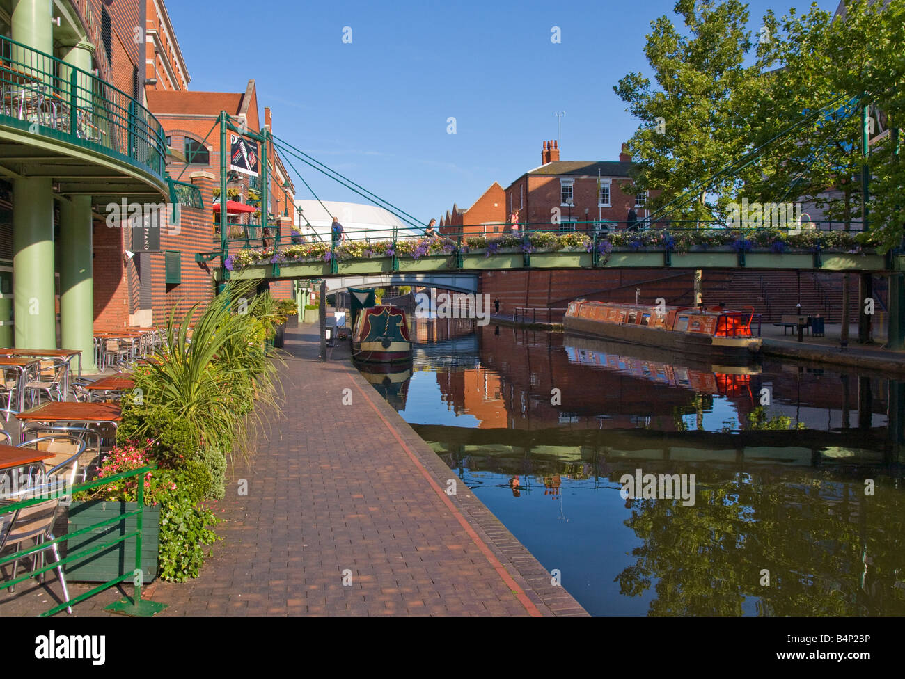 The canal in Brindley Place Birmingham UK - Stock Image