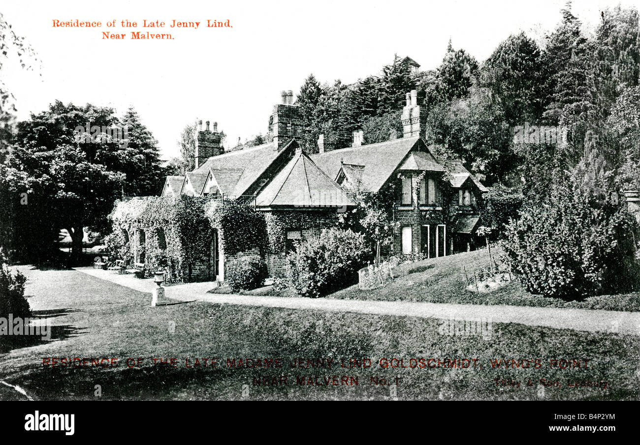 Old Topographical British Picture Postcard of Jenny Lind's house Wynd's Point near Malvern posted 1906  FOR EDITORIAL Stock Photo