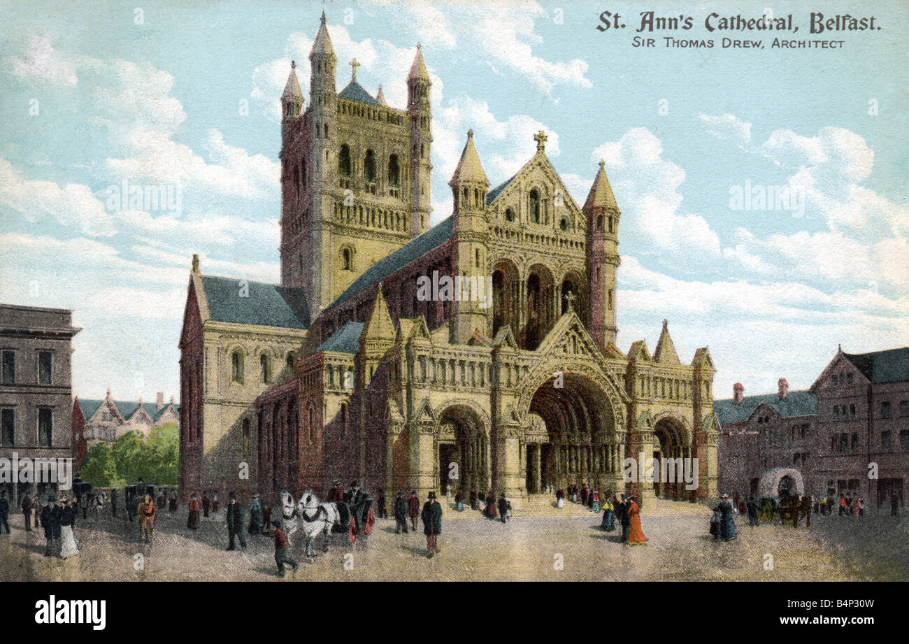 Old vintage British  Topographical Picture Postcard of St Ann's Cathedral Belfast posted 1904  FOR EDITORIAL USE Stock Photo