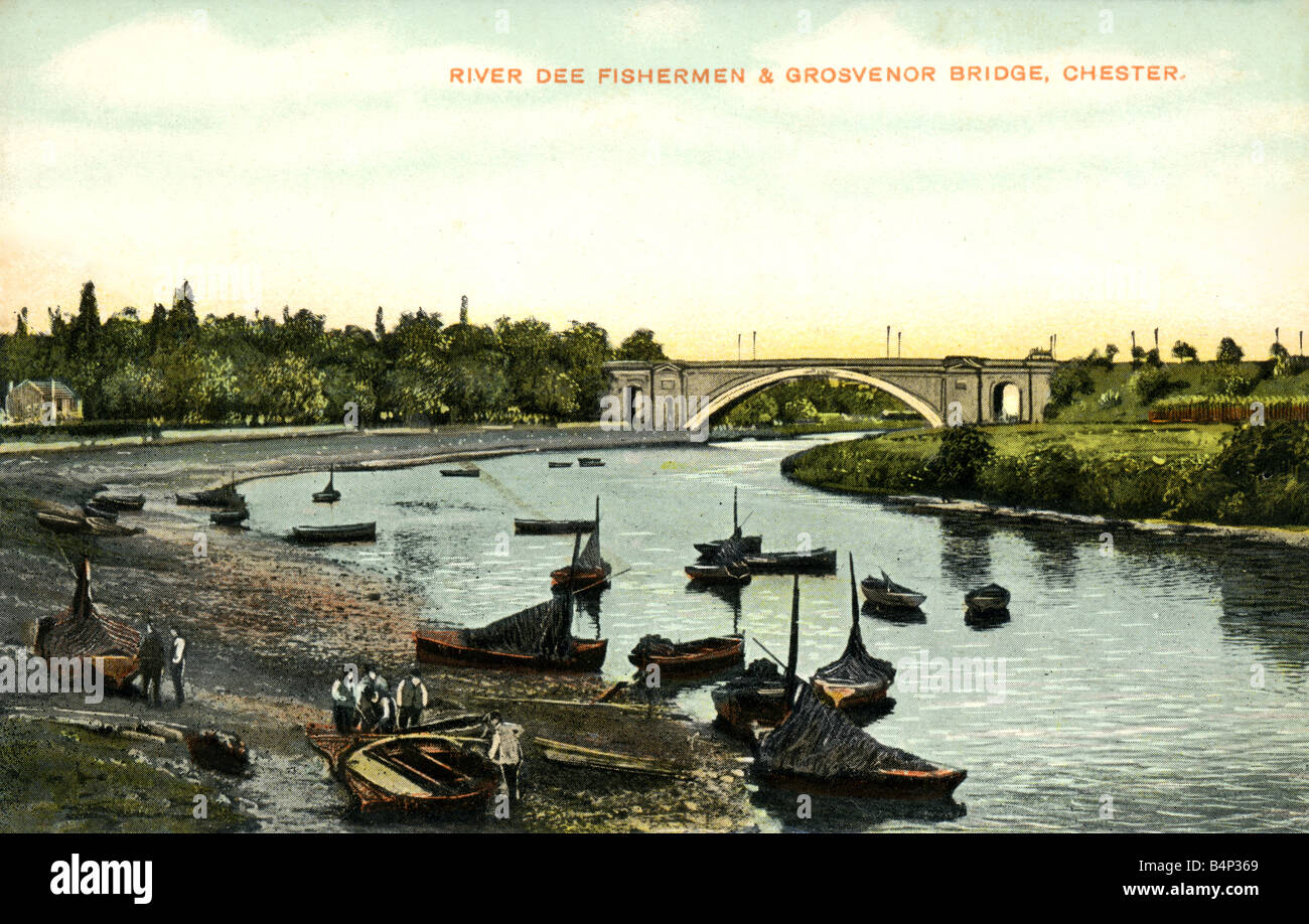Old vintage British  Topographical Picture Postcard of The River Dee Chester  FOR EDITORIAL USE ONLY Stock Photo