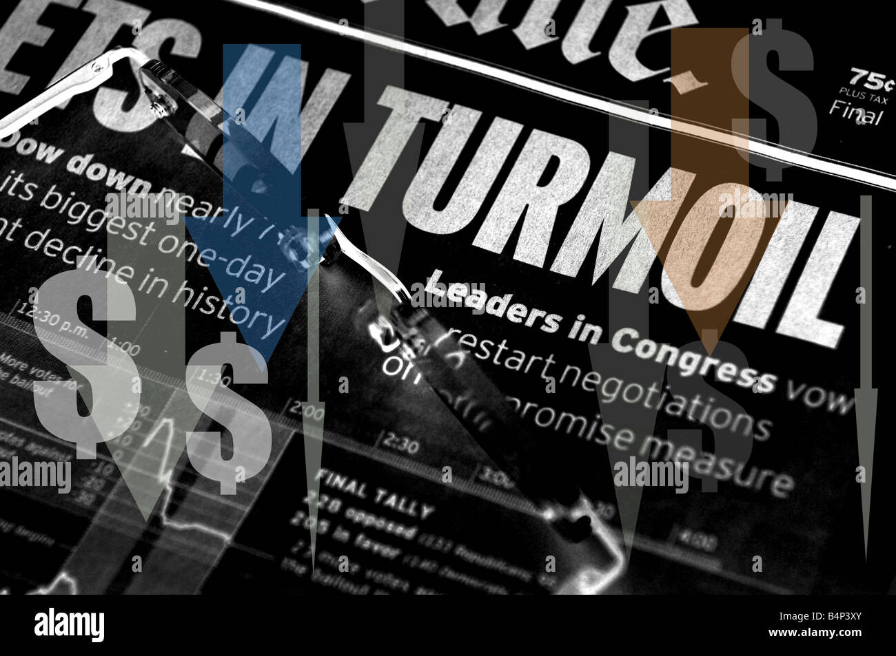Markets In Turmoil - stock market headlines - Stock Image