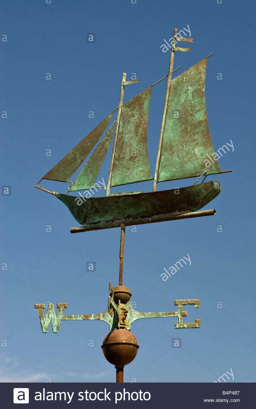 Sailboat copper weathervanes at El Centro Artesiano gift shop in Old Town San Diego California USA - Stock Image
