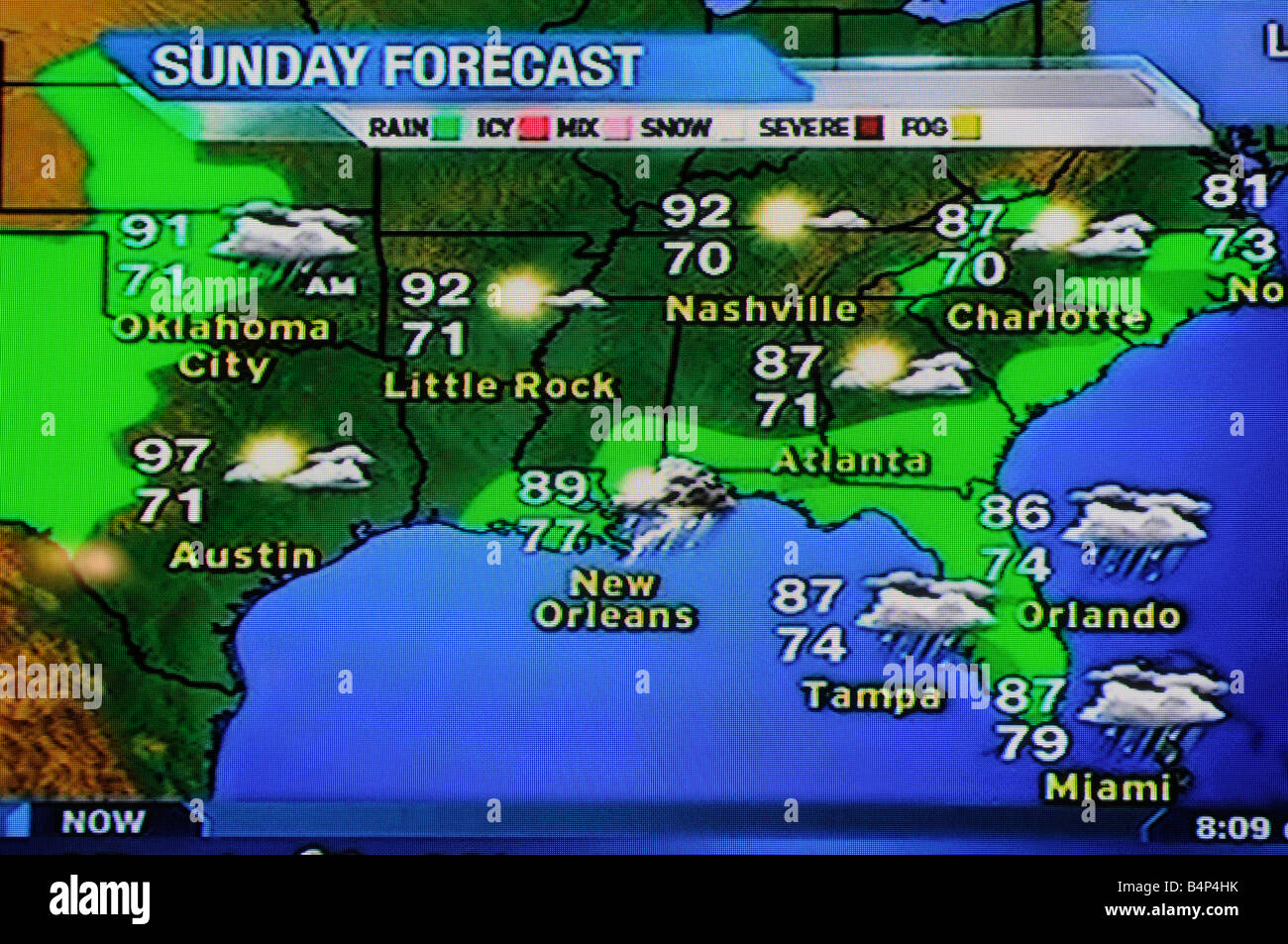 Orlando Weather Map satellite weather map as viewed on the Interand on TV