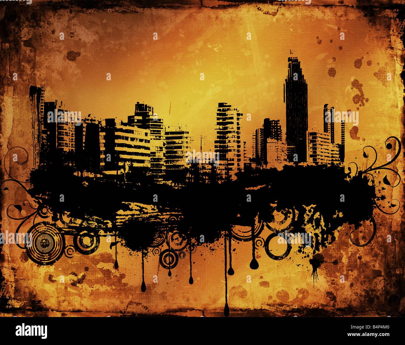 Urban city scene on grunge background - Stock Image