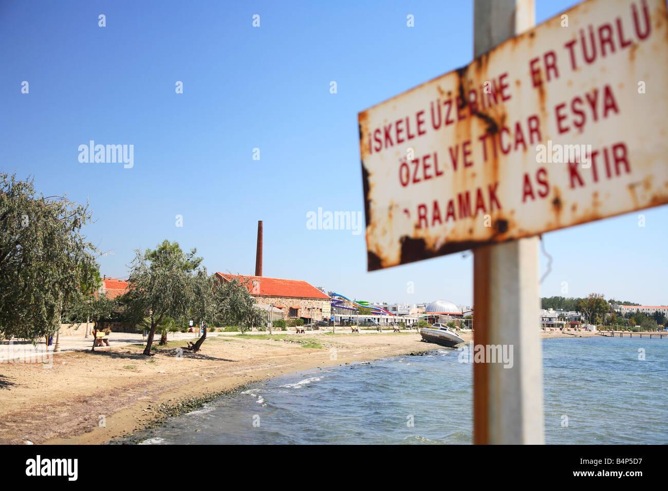 Akcay, harbor, horbour, Balikesir area, Aegean Sea, North Aegean, Turkey - Stock Image