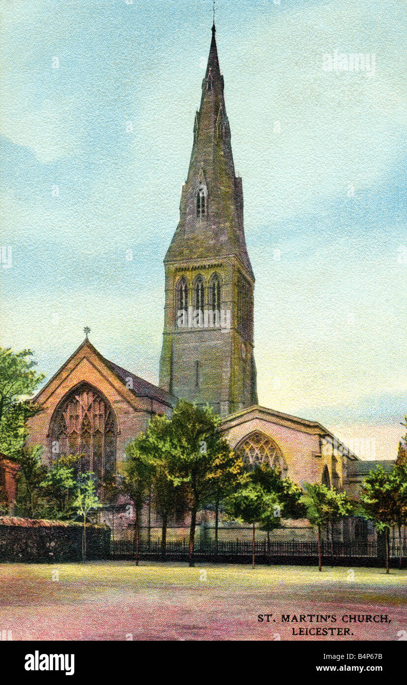 Old vintage British  Topographical Picture Postcard of St Martin's Church Leicester posted 1907 FOR EDITORIAL USE Stock Photo