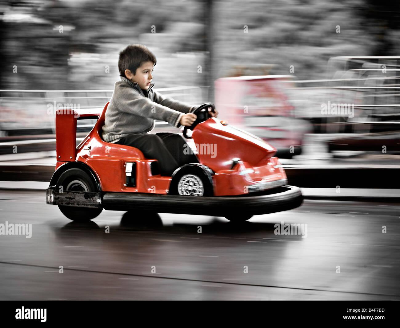 panning - boy in go-kart - Stock Image