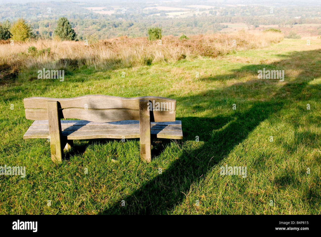 Wooden bench looking out over the Ashdown Forest, with a shaddow of a tree beside of the bench - Stock Image