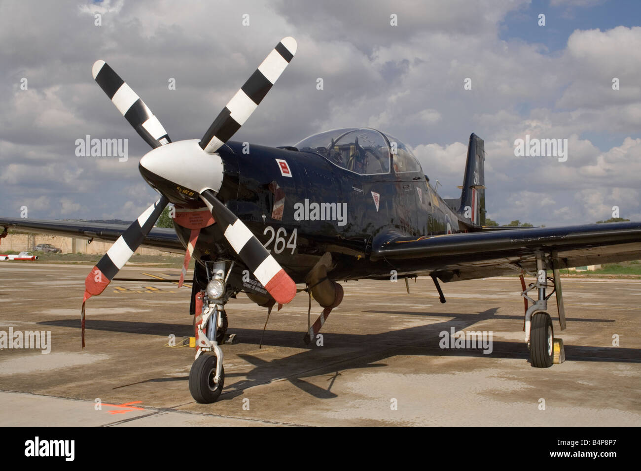 Royal Air Force Shorts Tucano T1 military training plane. Closeup front view. - Stock Image
