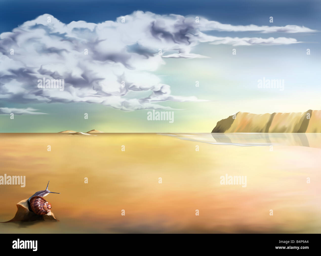 An original stylized illustration of a surreal landscape background Stock Photo