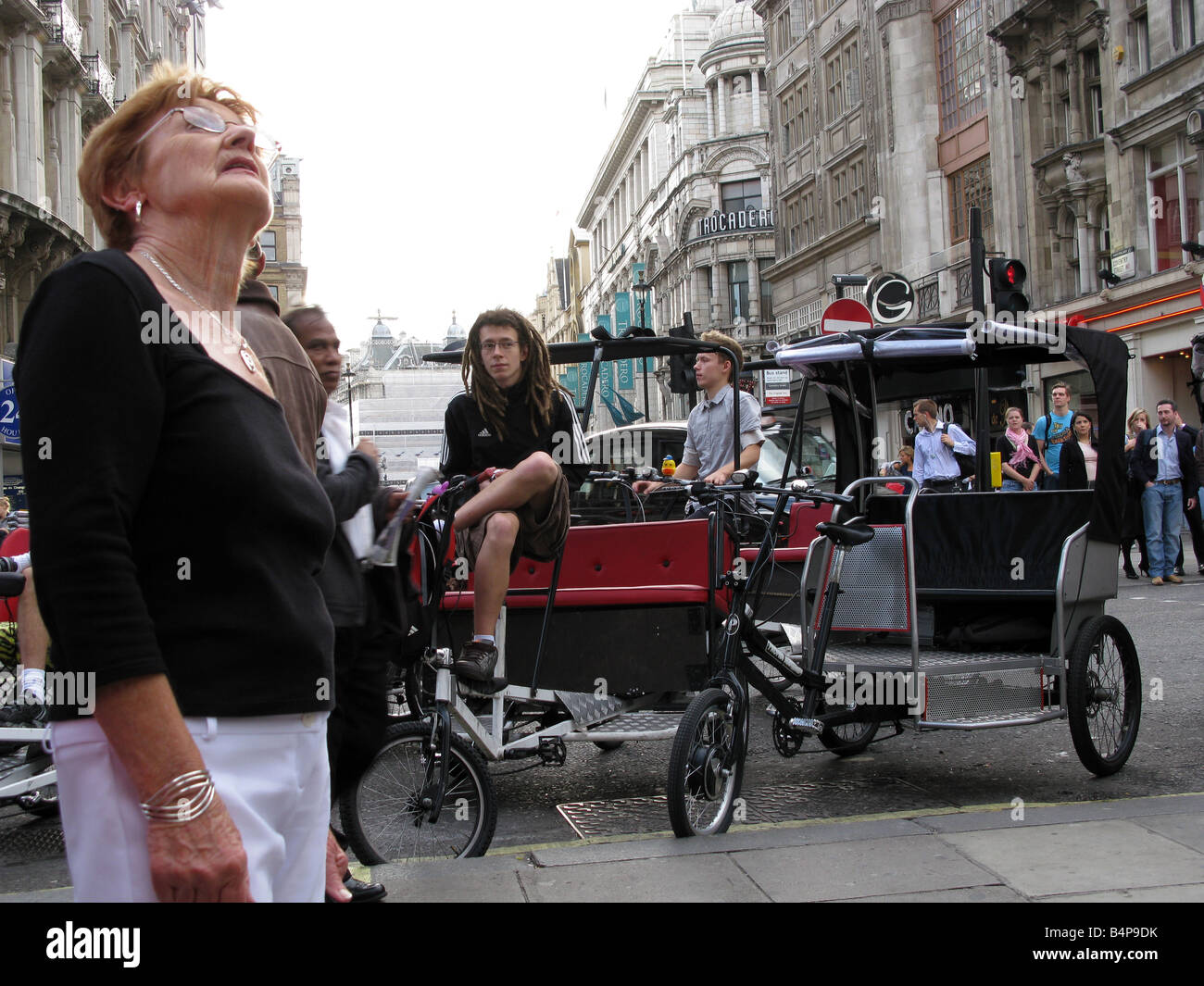 London Leicester Square  pedicabs - Stock Image