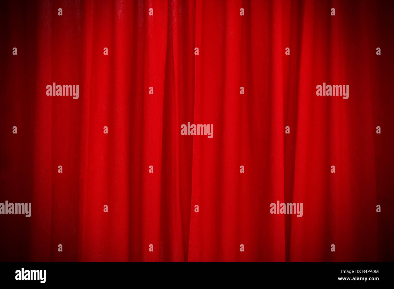 Red curtain with under the spotlight effect - Stock Image