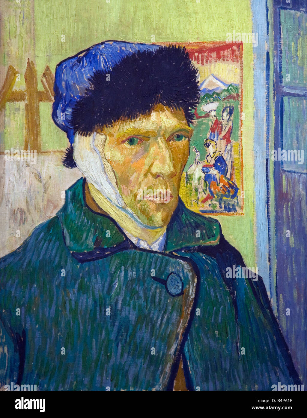 Self-portrait with a Bandaged Ear painted by Vincent van Gogh 1889 Courtauld Institute Gallery Somerset House London - Stock Image