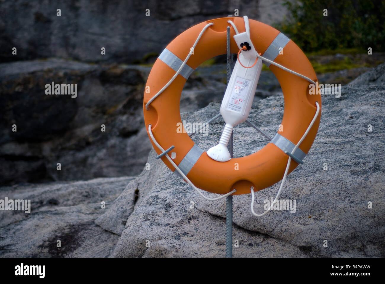 Lifebelt rescue ring marine safety equipment - Stock Image