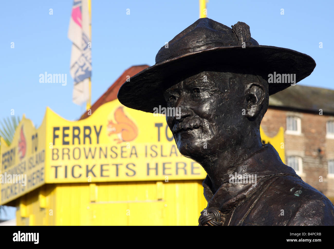 The statue of Robert Baden Powell, founder of the Scouting movement, in Poole harbour in England - Stock Image