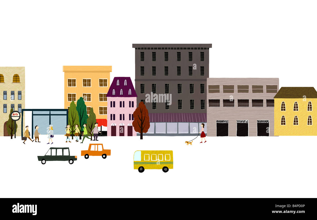 Illustrated image of buildings by street - Stock Image