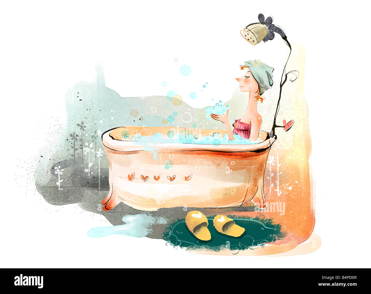 Painting of a woman in bathtub Stock Photo: 20162151 - Alamy