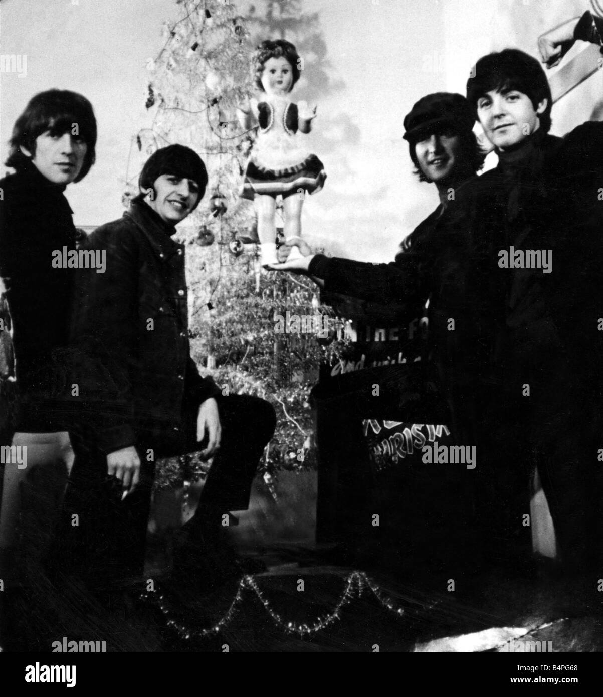 The Beatles Pictured in front of the Christmas Tree at the Capitol ...