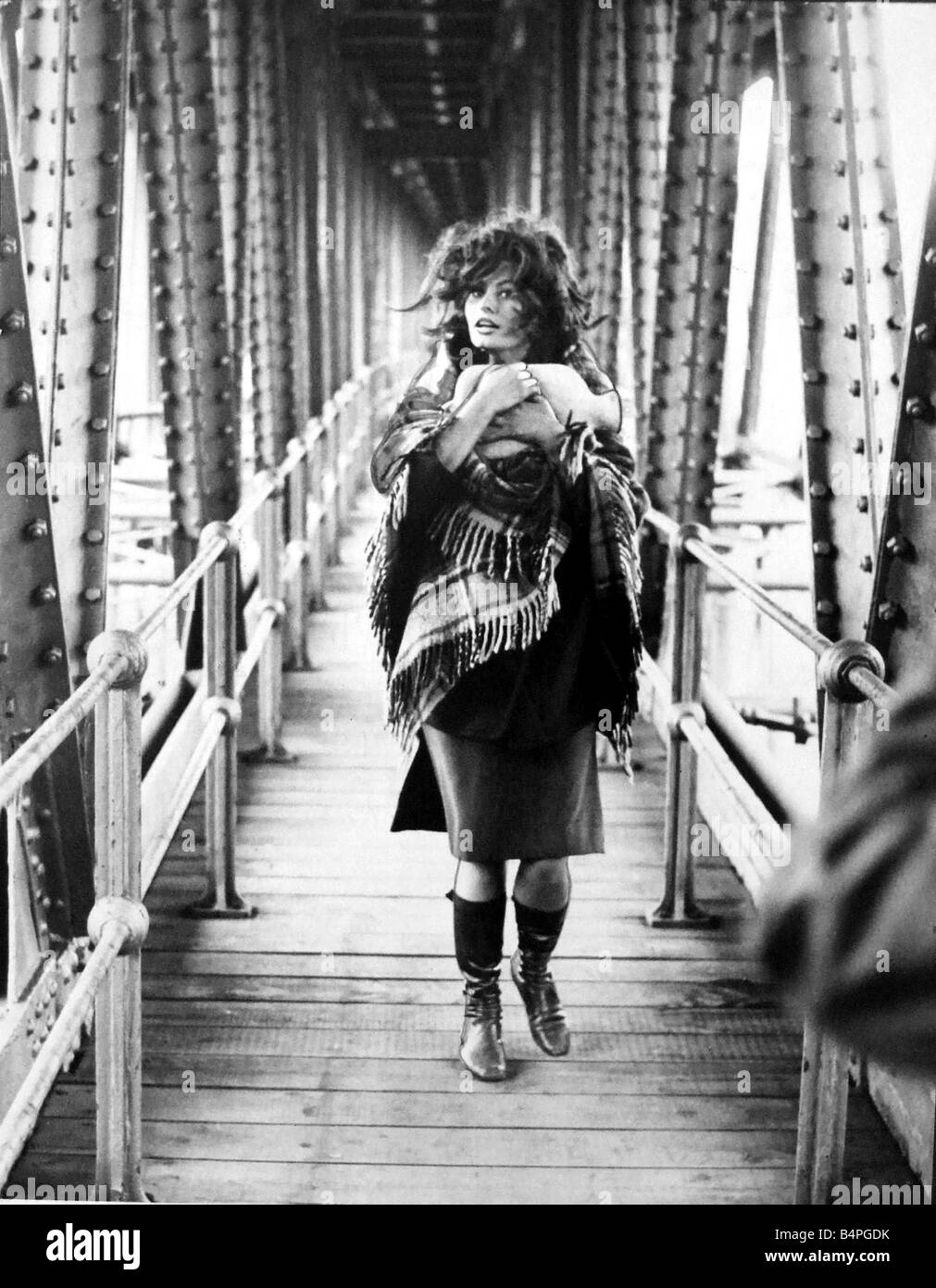 Italian film star Sophia Loren walks along the catwalk on the Crumlin Viaduct where she is filming scenes for the - Stock Image