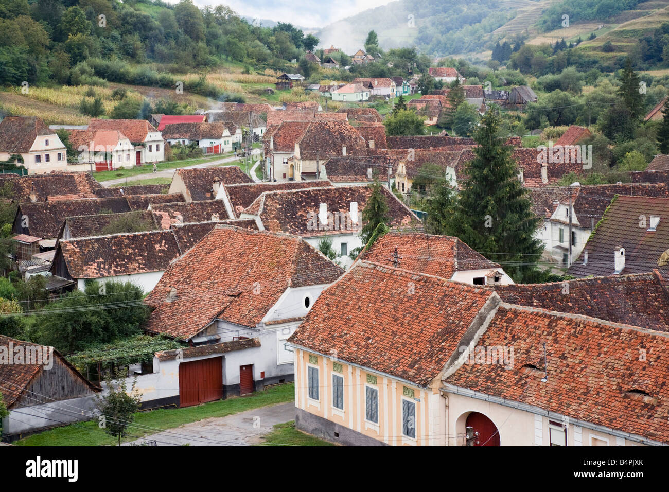 Biertan Transylvania Romania Europe Aerial view of village red tiled rooftops - Stock Image