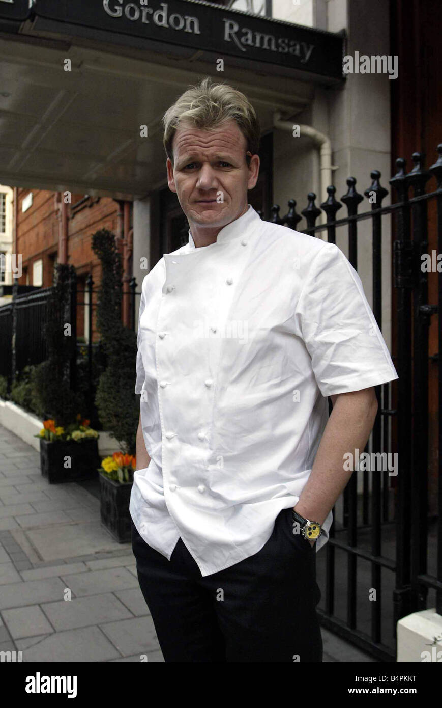 Gordon Ramsay February 2003 Top Chef and restauranteur Gordon Ramsay at Claridges Hotel in London standing outside - Stock Image