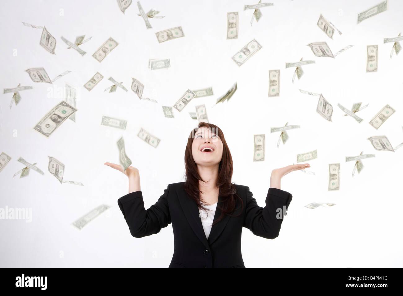 Money Raining Down On Woman Stock Photos Money Raining Down On