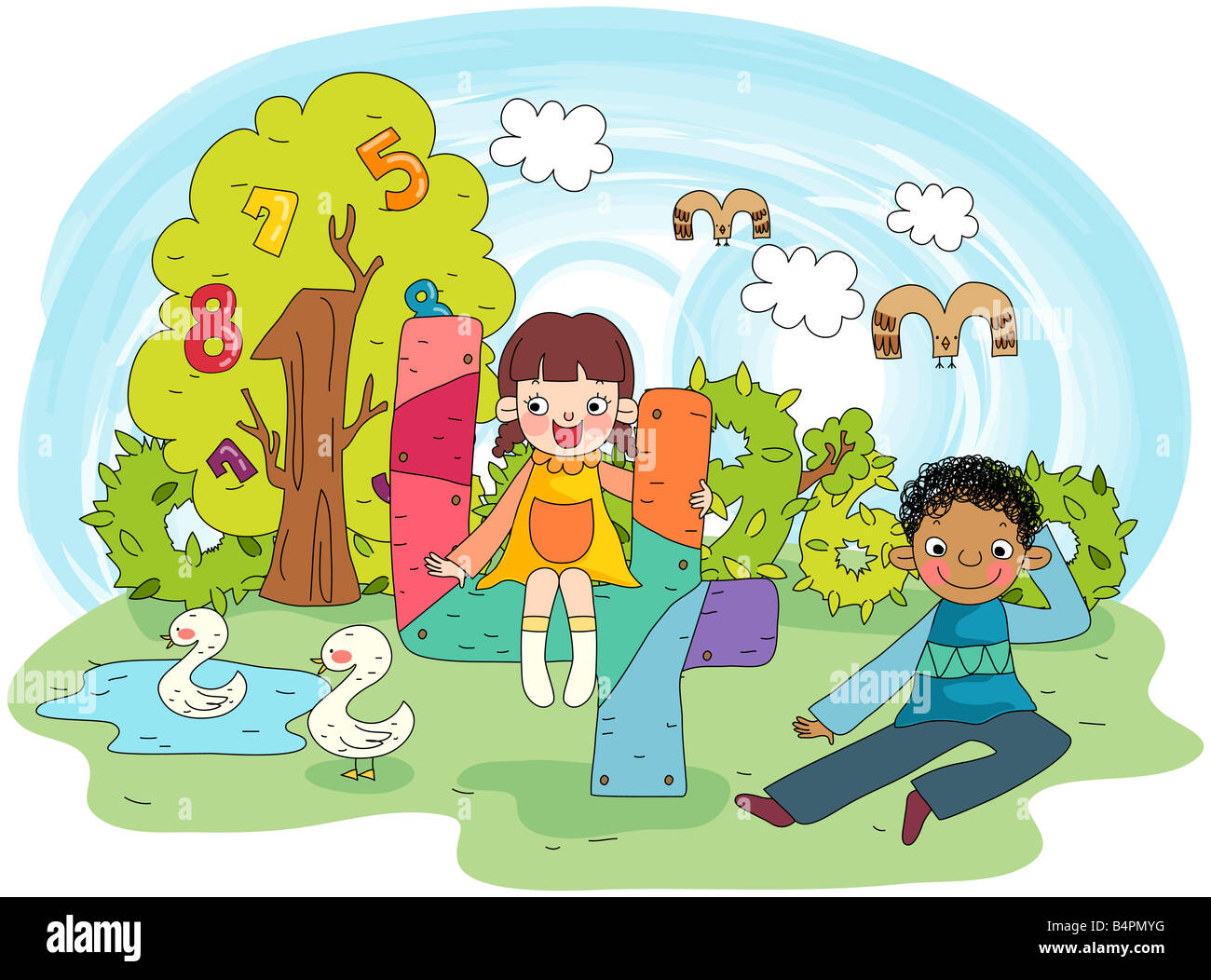 Kid Playing in Garden on Sunny Day illustration Stock Vector Image & Art -  Alamy