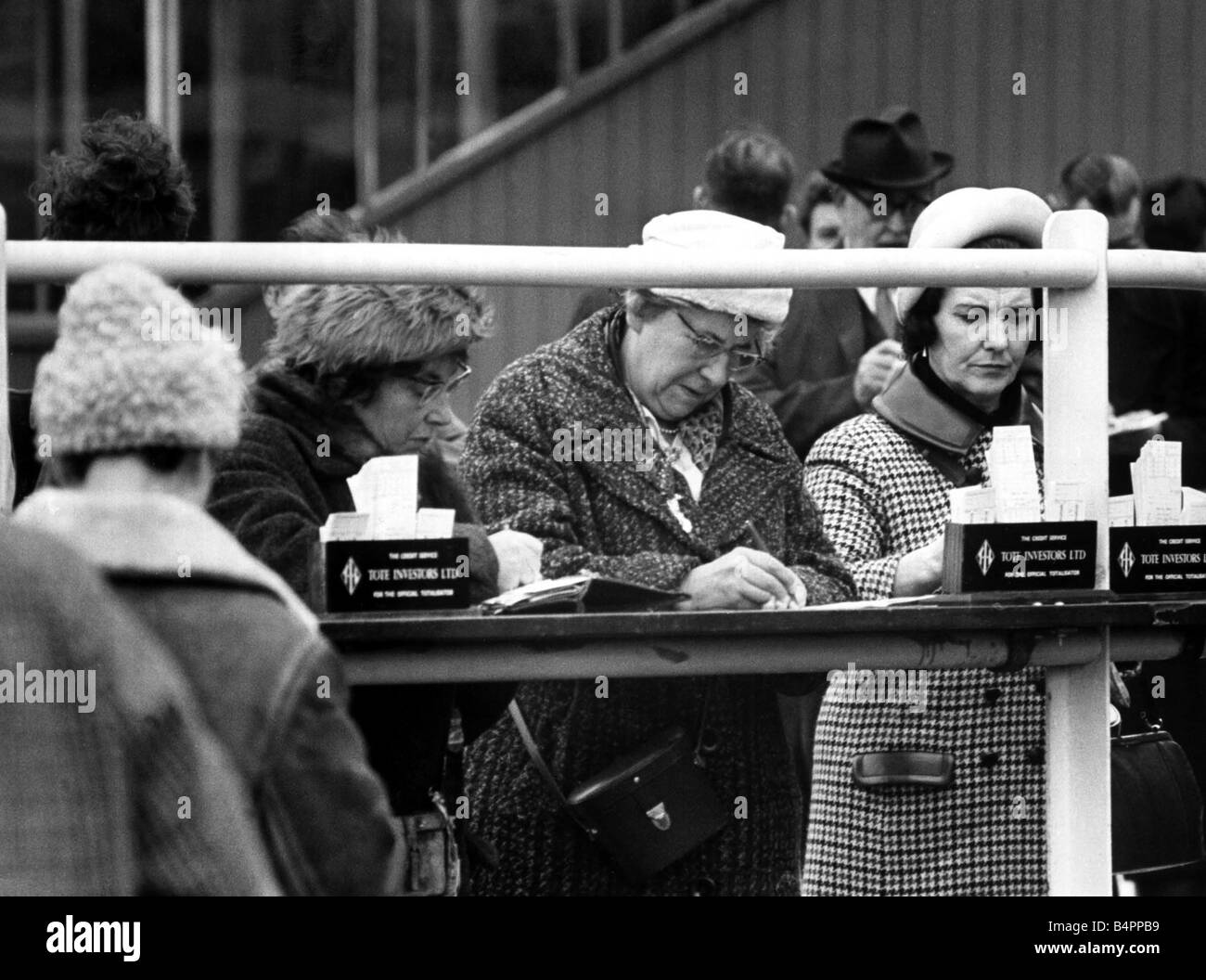 The ladies seem to find betting a serious business February 1965 - Stock Image
