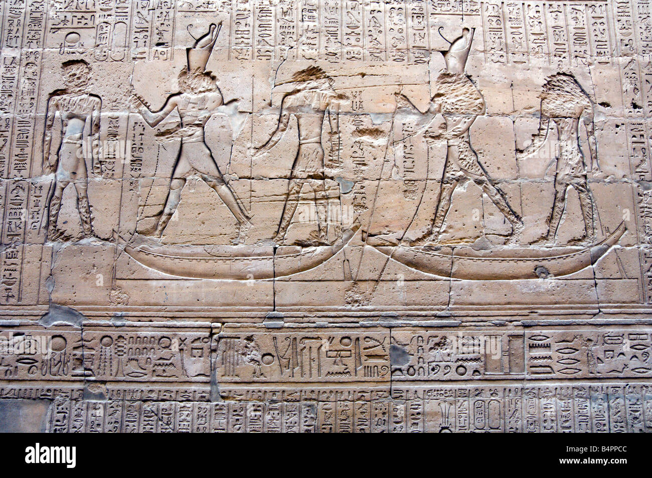 Hieroglyphs at the ruins and remains of the Horus Temple at Edfu Egypt - Stock Image