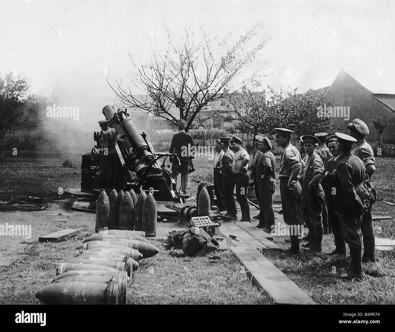 British Army Howitzer Firing On German Lines 1916 As They Advance