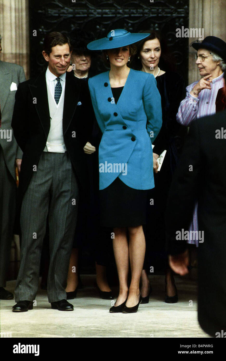 Prince Charles with Princess Diana dress in blue and black at the ...
