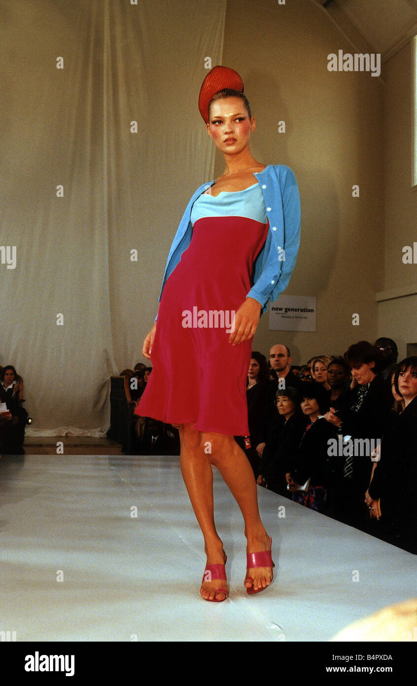 79c9eaeddbbe Kate Moss model on catwalk during London Fashion Week circa 2002 - Stock  Image