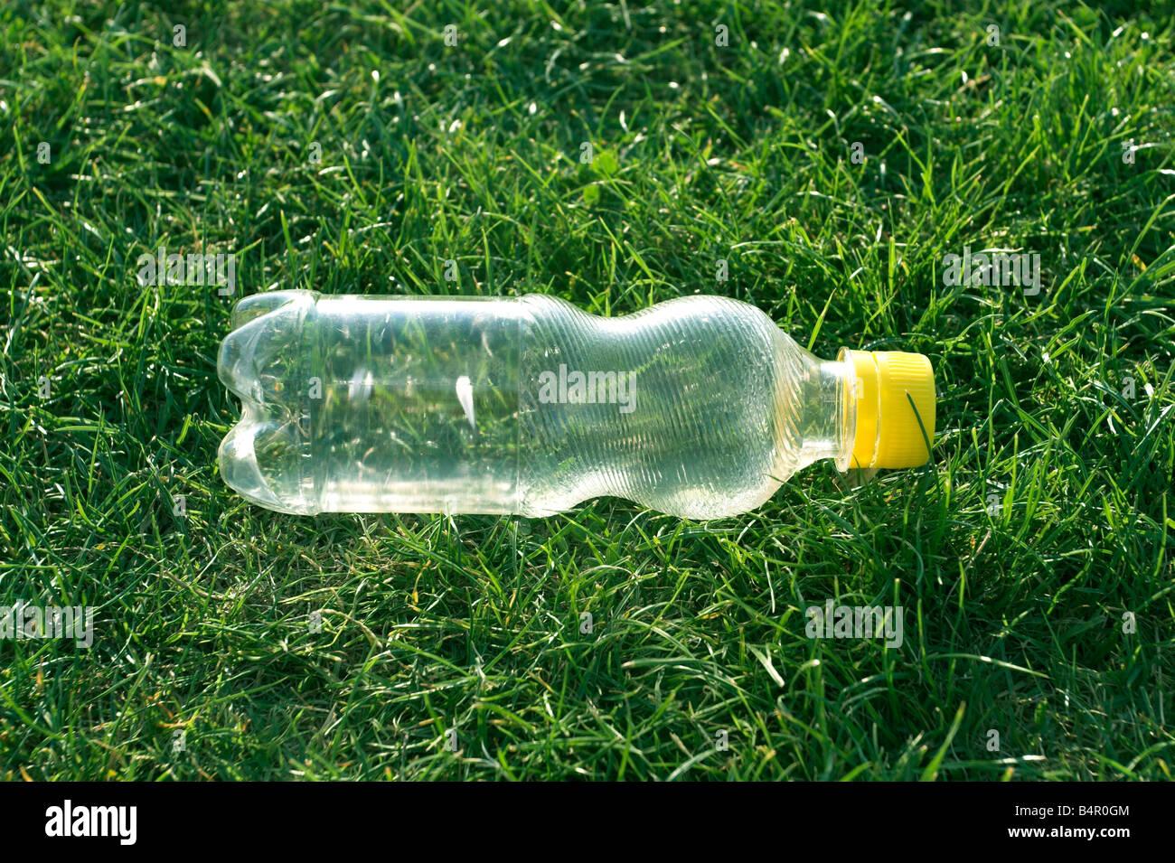 plastic bottle left on grass - Stock Image