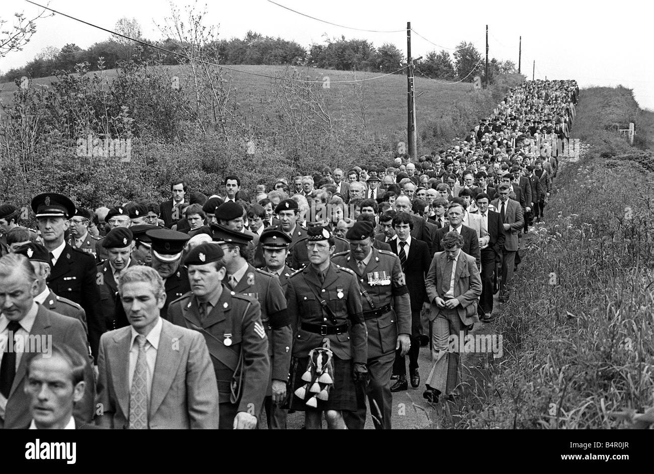 Ulster Murder Victim Thomas Alan Ritchie Funeral May 81 A section of the crowd of mourners at the funeral to First - Stock Image