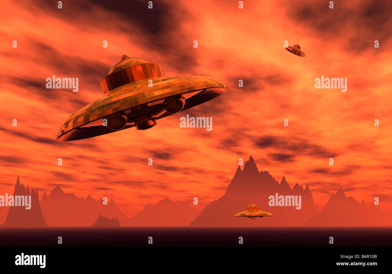 UFOs Arriving On An Alien Worlds Desert Landscape. - Stock Image