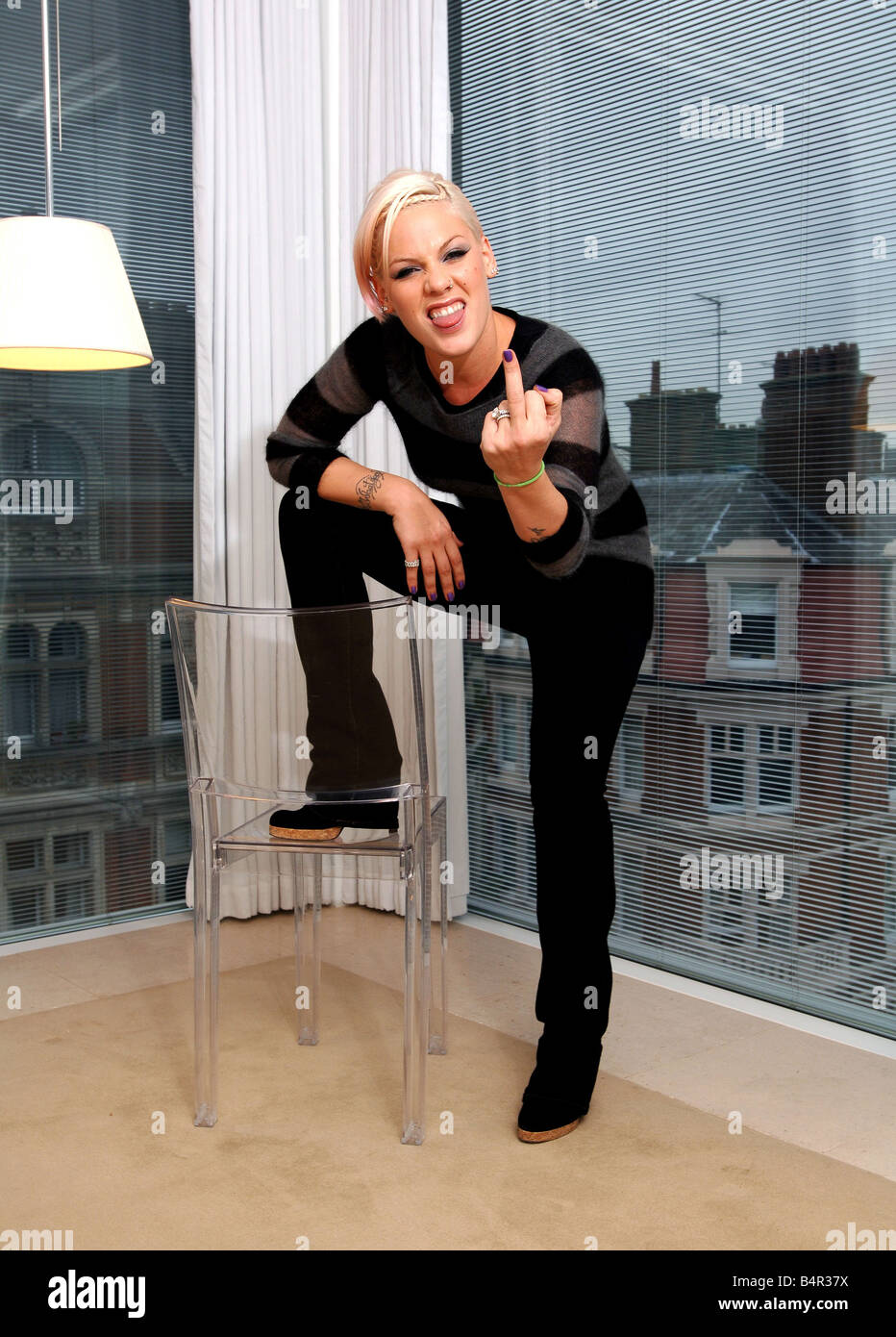 American rock chic Pink in London this week where she was promoting her new album I m not dead which is released - Stock Image