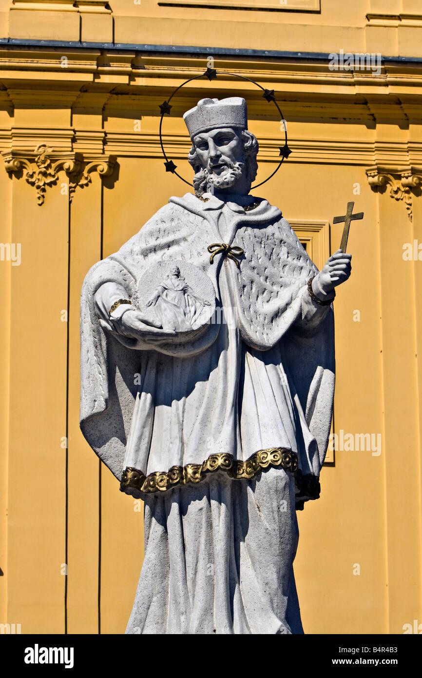 CROATIA, OSIJEK. Statue of John of Nepomuk in Osijek. - Stock Image