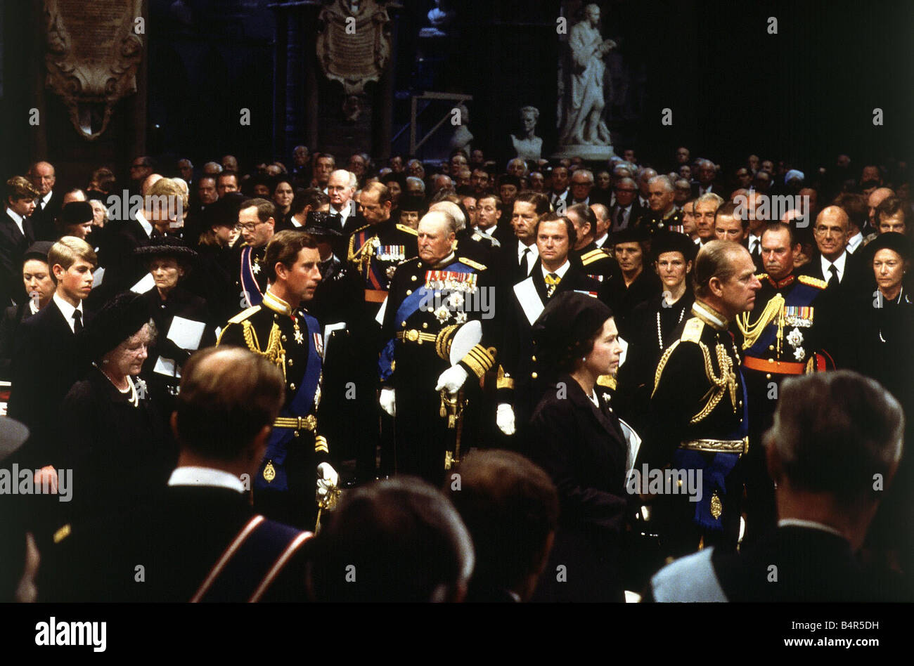 Royal Family attend Funeral of Earl Mountbatten 1979 Queen Elizabeth Prince Philip Queen Mother Prince Charles Andrew - Stock Image