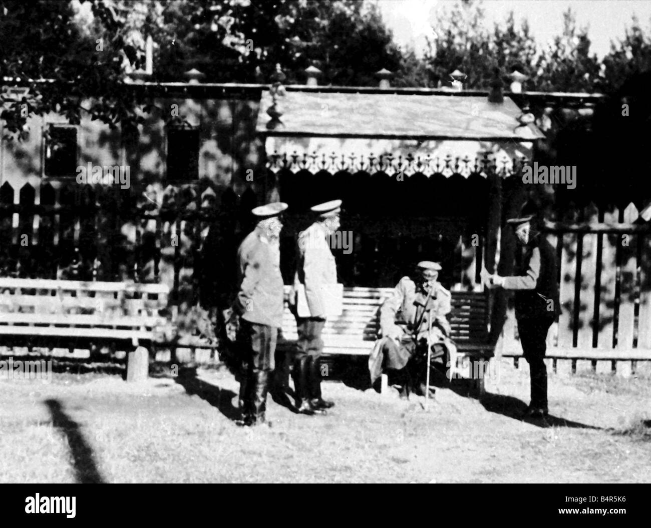 Grand Duke Nicholas of Russia pictured with some of his fellow army officers The Grand Duke fled to France in exile - Stock Image