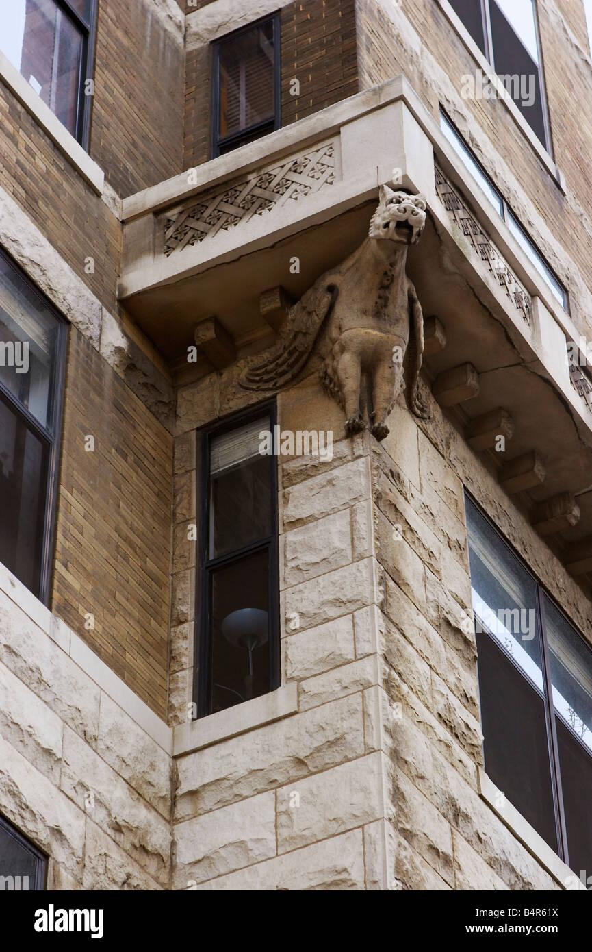 Moorish and Romanesque Revival style gargoyles on the Cairo Hotel Condominiums built in 1894 Washington DC - Stock Image