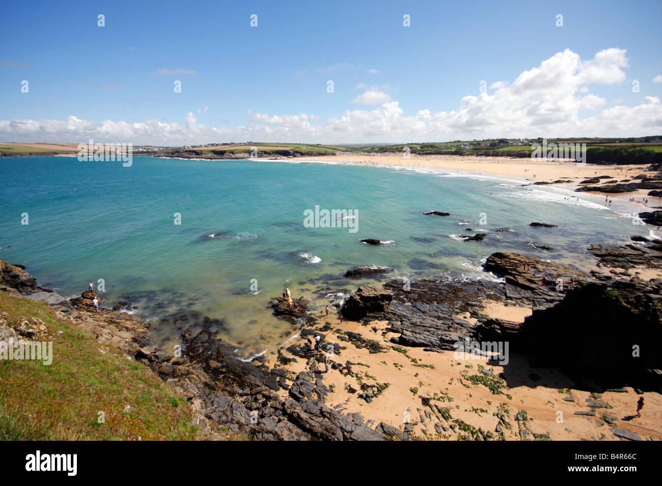 Crantock Bay in Cornwall UK - Stock Image
