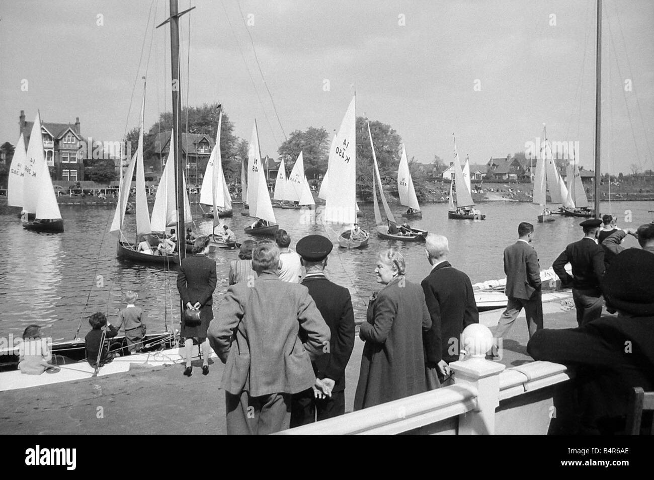 Tamesis Sailing Club s opening regatta of the season on the Thames at Teddington April 1946 - Stock Image