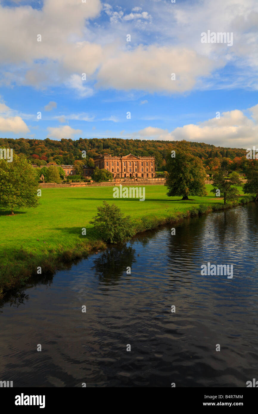 Autumn at Chatsworth House and River Derwent Derbyshire England UK - Stock Image