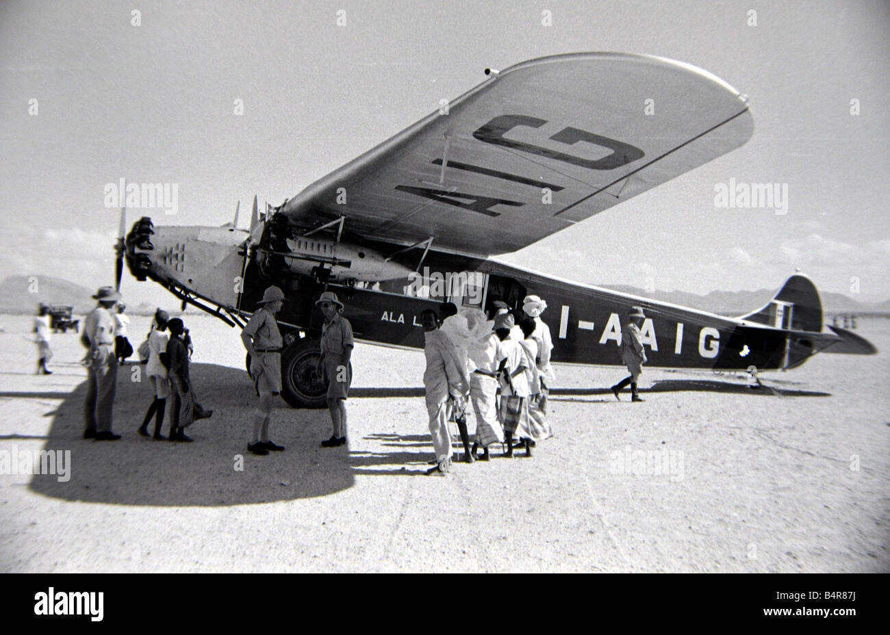 Plane in Somaliland Circa 1935 Colonialism - Stock Image