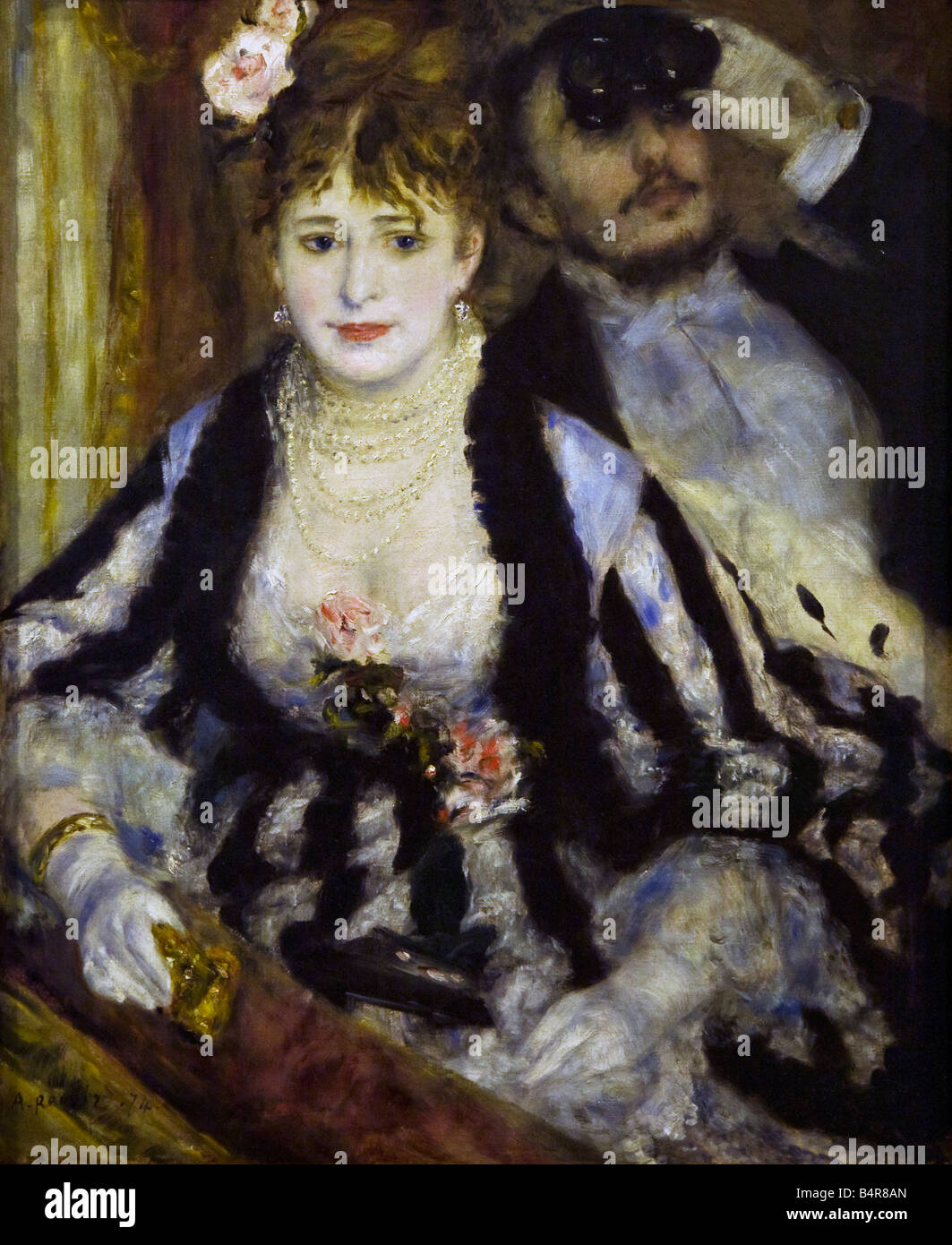 La Loge painted by Pierre-Auguste Renoir oil on canvas 1874 Courtauld Institute Gallery Somerset House London England - Stock Image