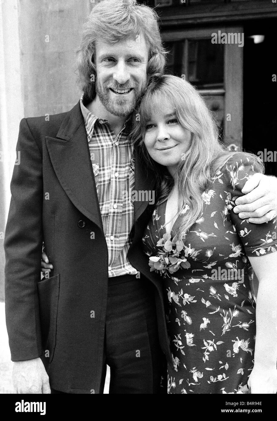Folk Singer Sandy Denny marries Trevor Lucas of the Folk Group Fairport Convention at Fulham registry office September - Stock Image