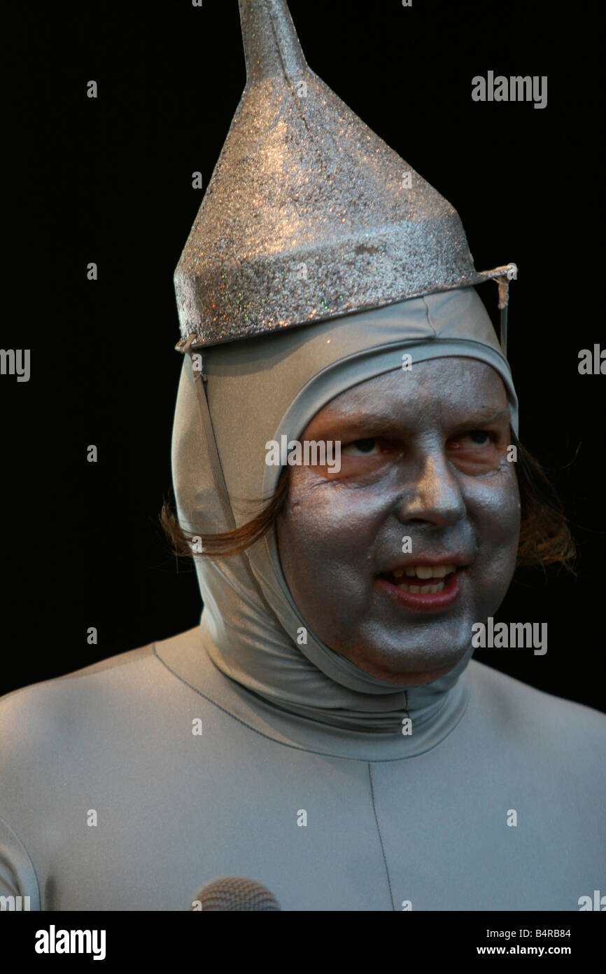 Comedian dressed as a robot with the Mighty Boosh - Stock Image